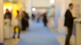 Blurred Background people at mall exhibition stock footage