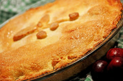Blurred background retro home baked cherry pie golden crust Royalty Free Stock Photos