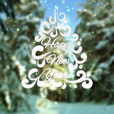 Blurred background with snowbound trees and text. Royalty Free Stock Photos