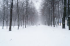 Blurred background of snowfall in the morning on town alley Royalty Free Stock Photo