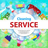Blurred background with soap bubbles. Spring cleaning service co vector illustration
