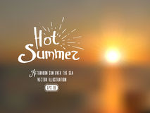 Blurred background of summer seascape in sunset with original lettering Royalty Free Stock Image