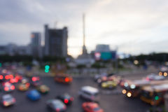 Blurred Background of Traffic Jam at Public Victory Monument in. Bangkok Thailand in sunset Royalty Free Stock Photography