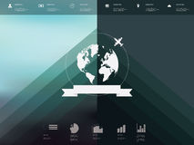Blurred background user interface with globe badge Royalty Free Stock Photography