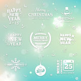Blurred background with winter labels Stock Photo