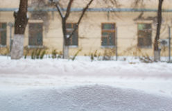 Blurred Background yellow house with the windows in winter Royalty Free Stock Image