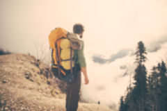 Blurred Background Young Man Traveler with backpack Royalty Free Stock Photography