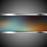 Blurred banner and perforated metal texture Royalty Free Stock Images