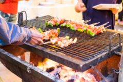 Blurred barbecue BBQ pork onion green pepper grill Stock Images
