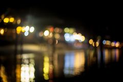 Blurred beach lights with bokeh effect Stock Image