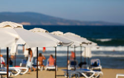 Blurred beach parasols Royalty Free Stock Photography