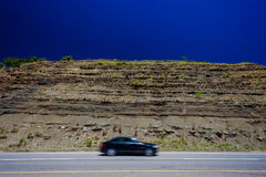 Blurred Black Car Road Contrasts Royalty Free Stock Photography