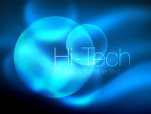 Blurred blue neon glowing circles, hi-tech modern bubble template, techno glowing glass round shapes or spheres. Geometric abstract background. Vector Vector Illustration