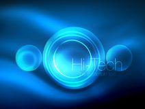 Blurred blue neon glowing circles, hi-tech modern bubble template, techno glowing glass round shapes or spheres. Geometric abstract background. Vector Stock Illustration