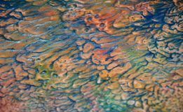 Blurred blue orange paste creative paint hues. Abstract paint watercolor background Stock Photography