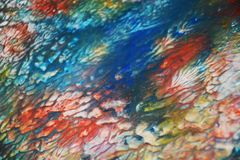 Blurred blue red orange paste creative paint hues. Abstract paint watercolor background Stock Photo