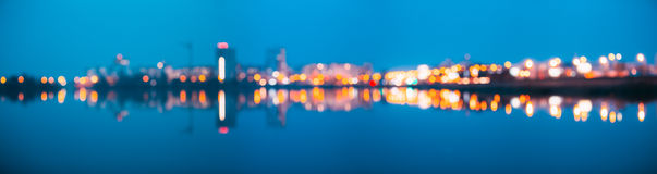 Blurred Bokeh Architectural Urban Backdrop. Background With Urban. Absract Blurred Bokeh Architectural Urban Backdrop With Reflections In Water. Real Blurred royalty free stock photography