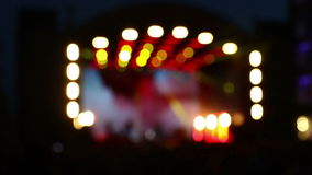 Blurred bokeh background of concert lighting on stage stock footage