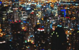 Blurred bokeh Chicago abstract cityscape stock photo