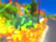Blurred bokeh city buildings background. S Stock Image