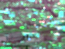 Blurred bokeh city buildings background. S Stock Photos