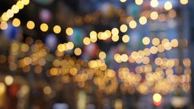 Blurred bokeh lights in city