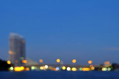 Blurred bokeh of river view in Bangkok city. royalty free stock images