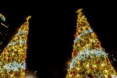 Free Blurred Bokeh Sparkling Light Christmas Tree For Season`s Greetings Stock Photography - 135592512