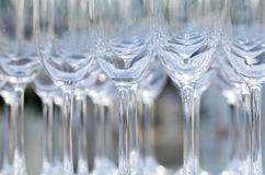 Blurred and bokeh of wine and champagne glass setting for weddin Stock Photo