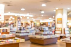 De focused, blur image of a bookstore. Bookstore background stock photos