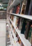 Blurred books. Blurred books on shelf in bookstore Stock Photo