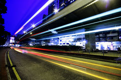 Blurred bus light trails Stock Photo