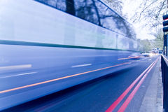 Blurred bus in the street Royalty Free Stock Photos