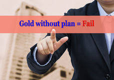Blurred businessman pointing Gold of business concept. Royalty Free Stock Images