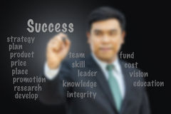 Blurred businessman writing success concept. Royalty Free Stock Photography