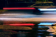 Blurred car lights background. speed motion on night street. Stock Photography