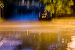 Long exposure photo of night traffic. blurred car lights. Royalty Free Stock Photos