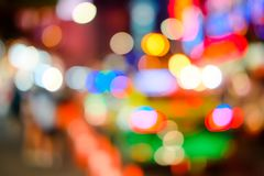 Blurred of car on road in the city at Night time. bokeh light. Blur of light glitter. Glow texture background. Blurred of car on road in the city at Night time royalty free stock images