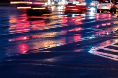 Free Blurred Cars Driving On Wet Road After Heavy Rain Royalty Free Stock Photography - 100484927