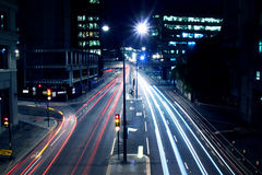 Cars lights on London street by night Royalty Free Stock Image