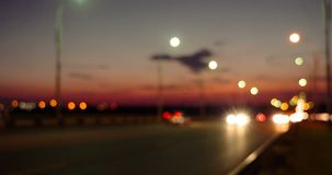 Blurred cars moving out vanishing point