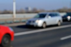 Blurred cars and road. Warsaw city, Poland. Royalty Free Stock Photography