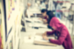 Blurred children in the art room Royalty Free Stock Photography