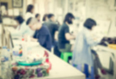Blurred children in the art room Royalty Free Stock Images