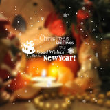 Blurred christmas background with lights, candles, snowflakes. Royalty Free Stock Images