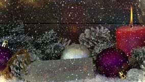 Blurred Christmas background with snow and bokeh royalty free illustration