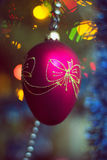 Blurred Christmas toy on Year tree, bokeh, soft focus, background art, the author's processing.  Royalty Free Stock Image