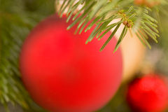 Blurred christmas tree decorations background Royalty Free Stock Photos