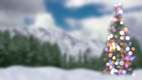 Blurred christmas tree and forest Royalty Free Stock Images