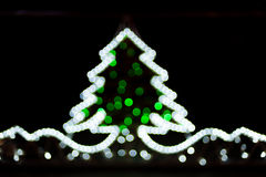 Blurred christmas tree lights. On black background Royalty Free Stock Image